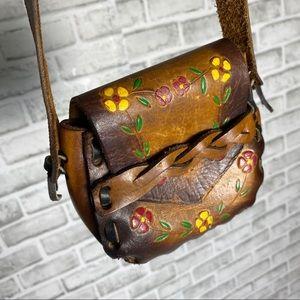 VTG Hand-Tooled Leather Boho Floral Shoulder Bag
